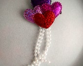 VALENTINES DAY Holographic  Balloon Hearts Hair Clip