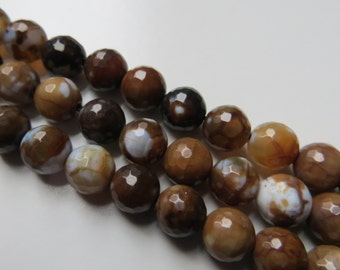 8mm Faceted Brown Agate Beads - Half Strand