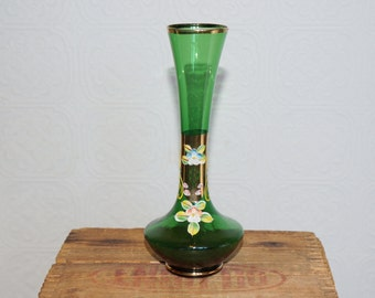 Vintage bohemian  glass vase emerald green glass