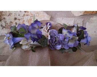 floral crown flower head wreath bridal flowers boho women's fashion hair accessory renaissance faerie costume Easter Spring Equinox Ostara