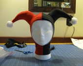 Adult size jester hood hat in red and black