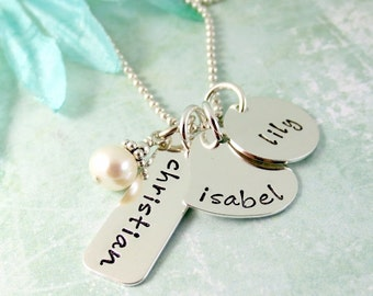 Three Name Necklace - Name Charm Necklace - Personalized Necklace - Mother's Necklace - Custom Mom Jewelry - Kids Name - Sterling Silver