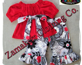 Girl Retro Floral Outfit Custom Boutique Toddler Baby Girl Peasant Ruffle Pant Set  3 6 9 12 18 24 month size 2T 2 3T 3 4T 4 5T 5 6 7 8