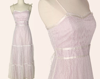Vintage 70 Maxi Dress / Ivory Lace Maxi Dress / Lilac Maxi Dress / Maxi Sundress