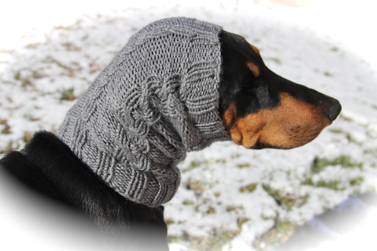 Hand knitted Snood for Dog classic cable pattern by COZYHORSE