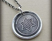 Star of David Wax Seal Necklace - Inspirational Necklace - eco friendly silver jewelry