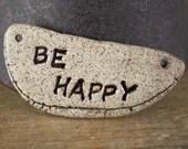 Handmade stoneware ceramic pendant Two-sided Be Happy/Fuck It