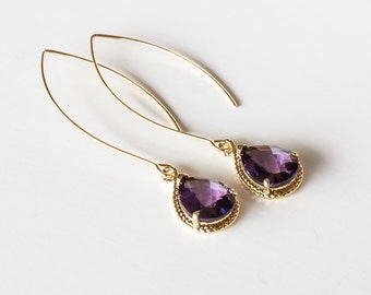 Purple Glass Earrings With A Shiny Gold Plated Frame
