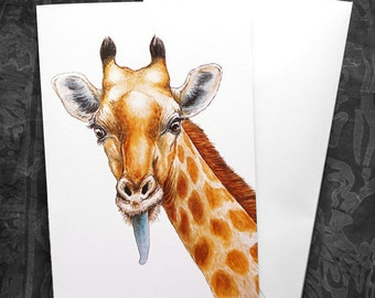 Funny Giraffe Greeting Card - 5x7 inch card with envelope, blank inside, animal wildlife africa