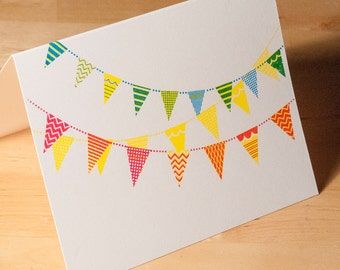 Hand-printed card -- Flag Bunting