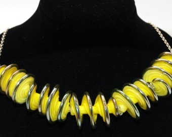 Yellow Spiral Necklace - Lampwork Jewelry - Glass Bead Jewelry - Beadwork Jewelry - Elegant Jewelry - Chic Jewelry