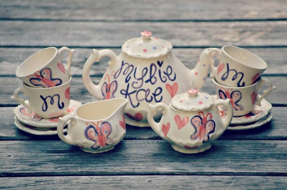 personalized girls tea set butterfly tea party by hollyslay. Black Bedroom Furniture Sets. Home Design Ideas