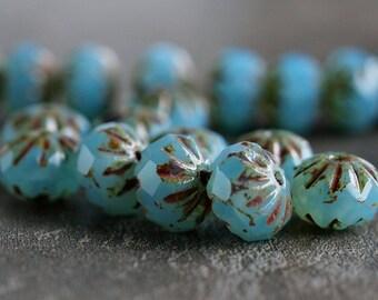 Blue Aqua Opal Picasso Czech Glass Cruller Bead 9x6mm : 10 pc