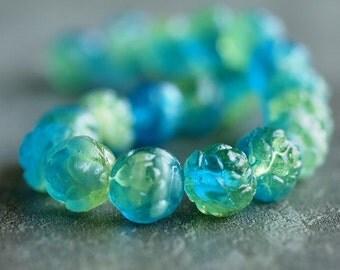 Aqua Lime Czech Glass Bead 7x8mm Rosebud : 12 pc