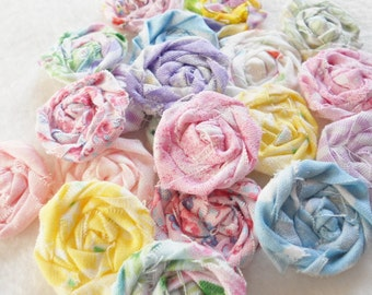 """Fabric Flowers Rolled Roses Hairclip Pinwheels Shabby Chic Wedding 10 Rosettes 2"""" Photo Prop Birthday Party Wholesale"""