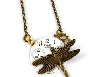 CLOSING DOWN SALE dragonfly Neo Victorian vintage steampunk necklace