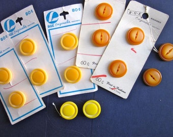 Lot of Vintage BGE buttons:  Neutral tan butter and yellow  - 14 buttons and 5 original cards