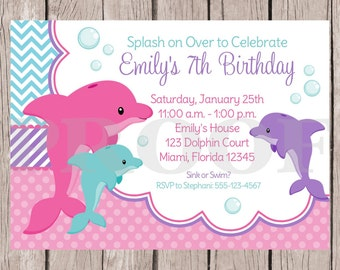PRINTABLE Pink Dolphin Birthday Party Invitation / Pink and Purple Dolphin Party / Dolphin Birthday Party / You Print