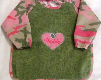 Military Dogtag Daddy's Girl Sleeved Bib - 6 months to 2T