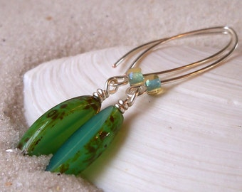Long Opal Seafoam Green Bead Earrings