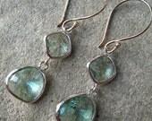 Seafoam Glass Earrings - Light Green - Mint - Prasiolite