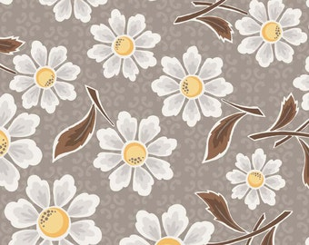 Daisy Cottage - Lori Holt Fabric From Riley Blake - Gray Floral - 2750 - 8.75 Per Yard