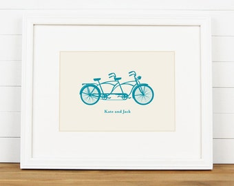 TANDEM Bicycle Personalized Art Print - Personalized Engagement Couples Wedding Art