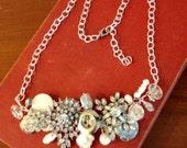 Vintage Rinestone Steampunk Collage Necklace