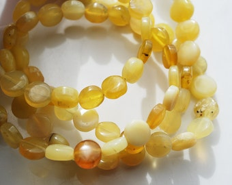 Half Strand, Honey Opal Flat Coin Beads, 8MM