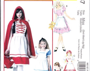 McCalls 6187 KIDS Fairytale Storybook Red Riding Hood Alice Costume Sewing Pattern Sizes 3-8 New UNCUT