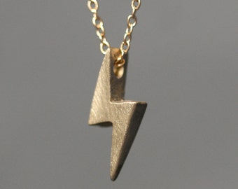 Lightening Bolt Necklace in Brass with Gold Filled Chain