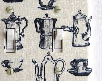 Double Standard Light Switch Plate Cover - cream with coffee carafe print