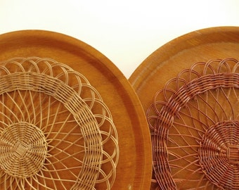 Mid Century Teak Trays and Wicker Trivets. Large Round Wood Trays, Danish Modern Circular Serving Trays, Scandinavian Decor, Table Wares.