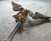 Vintage Antique Winged Liberty Bell Yellow Topaz Stones Brooch Stick Pin Tie Lapel Collar