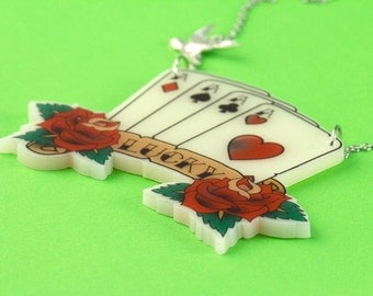 Lucky Playing Cards & Swallow Tattoo Necklace - Retro Rockabilly Fifties Kitsch Pin Up - Laser Cut