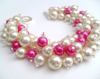 Hot Pink and Ivory Pearl Beaded Bracelet, Bridesmaid Jewelry, Hot Pink Wedding, Cluster Bracelet, Pearl Bracelet, Bridesmaid Gift