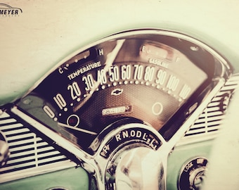 Chevy Bel Air Dashboard, Large Wall Art Print, Automotive Art, Automotive Decor, Man Cave, Fine Art Print, Father's Day