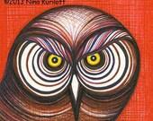 ORIGINAL Fine Art Drawing of Owl Bird of Prey Mid Century Modern wall Art Decor