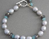 Gray Pearl & Labradorite Bracelet, Sterling Silver Toggle, Artisan Jewelry