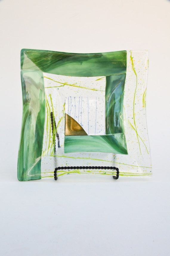 Green Fused Glass Mosaic Square Platter