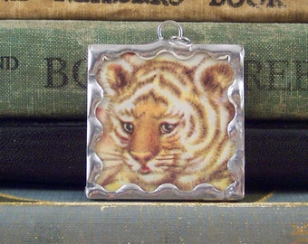 Tiger Cub Pendant - Soldered Glass Charm with Vintage Story Book Illustration - Tiger Jewelry - Big Cat