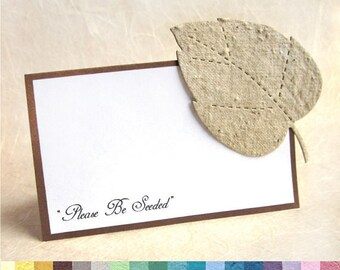 30 Flower Seed Paper Place Cards - Plantable Place Cards - Wedding Place Cards - PDF template or Printed - Fall Leaves Leaf Seating Card