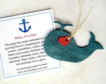 15 Plantable Seed Paper Whales - Ahoy It's a Boy Baby Shower Favors - Nautical Favors - Ocean Marine Anchor Favor Cards