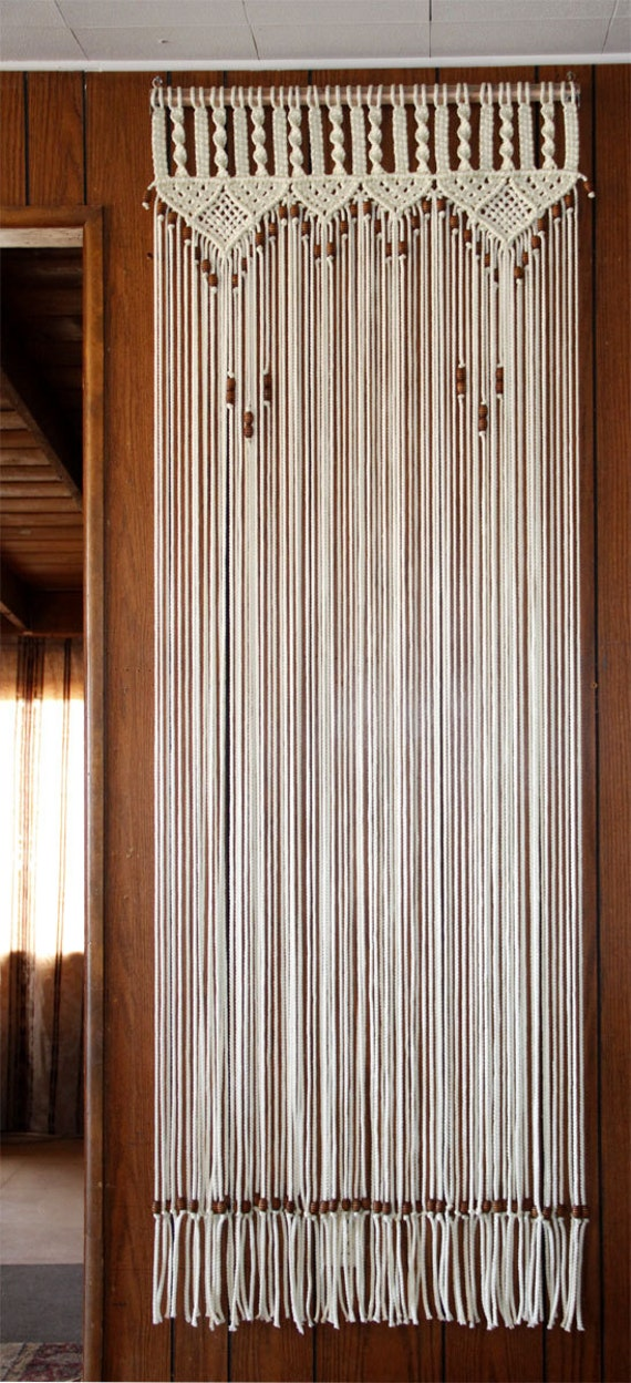 Bead Fringed Door Curtain In Macrame With Handmade Wood Curtain Rod On