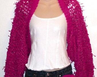 Pink Fringe Slouchy Shrug Adult Size Crochet Pattern pdf