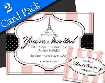 Paris Themed Party Invitation and Thank You 2 Card Pack - Birthday Shower Cocktail Invite - Customized - DIY Printable