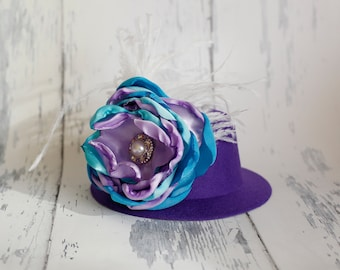 Boudoir Couture - Purple Mini Top Hat with Handmade Couture Large Flower and Feathers