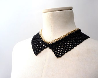 Peter Pan Collar Crochet Necklace - Gold Metal Chain and Black Cotton