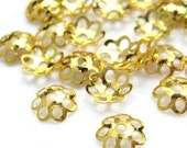 150pcs 6mm Gold-plated bead caps