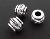 10pcs Antique silver barrel spacer beads SPB505S